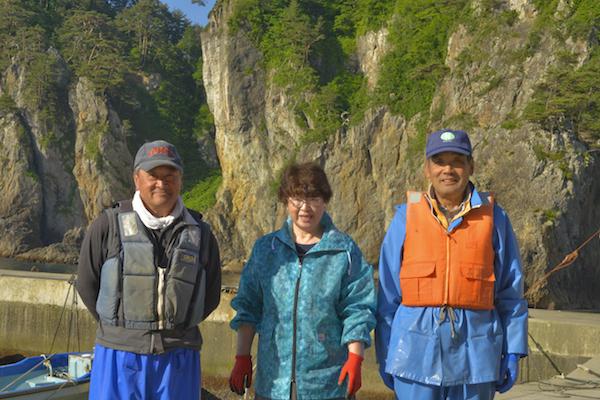 漁師2人と裕美子さん